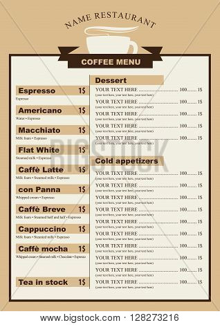 menu for the cafe with a cup of coffee with price list