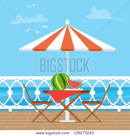 House Patio With Garden Chairs and Table with umbrella on the terrace balcony. View over the sea. Water landscape. Picnic with waternelon. Flat style vector illustration.