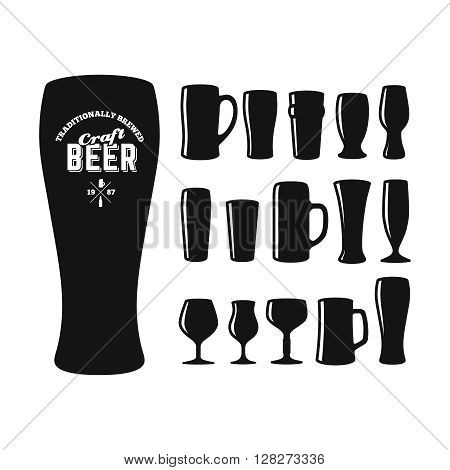 Craft beer glasses types. Set of vector craft beer glasses silhouettes. Different shapes and sizes