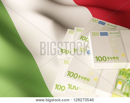 Euro banknote bundles on textile textured Italy flag. 3d rendering.