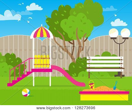 Colorful Children's playground with Swings slide sandbox bench teeter board. Kids playground. School Children's park. Buildings for city construction. Kindergarten Vector flat design illustration