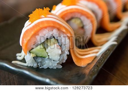 salmon sushi rolls, sushi, roll, food, japanese, salmon