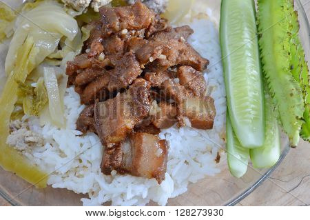 sweet pork and boiled pickled cabbage with mince pork on rice