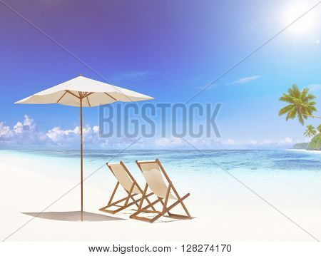 Deck chair on tropical beach.
