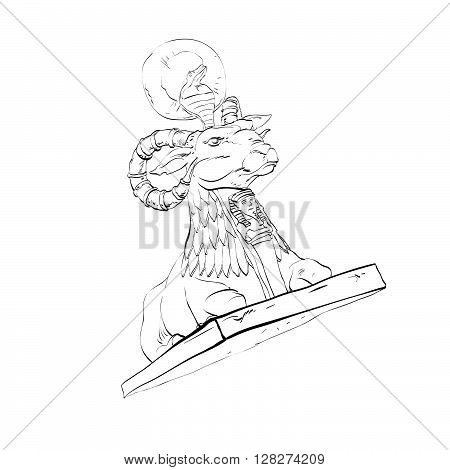 Golden sheep statue animal fairy. Black and white illustration. Fairy tale and adventure. Sheep with horns and a cobra