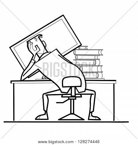 man computer monitor back. Workplace. Books and computer. A creative mess. Black and white illustration vector