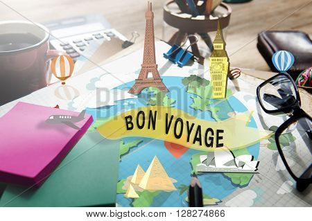 Bon Voyage Farewell Greeting Journey Travel Trip Concept