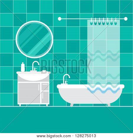 Bathroom interior. Furniture. Home Interior Objects - bath mirror wash basin. Modern trendy design. Vector illustration.