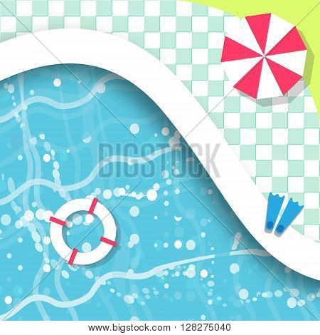 Top View Swimming pool. Rest time. Summer. Water beach vacation. Pool with clear water. Vector design illustration