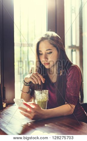 Woman Drinking Beverage Mobile Phone Technology Concept