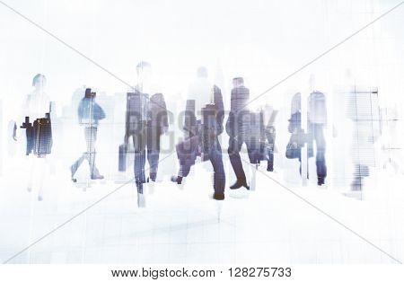 Commuter Business People Cityscape Corporate Travel Concept