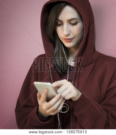 Girl Hoodie Listening Music Phone Concept