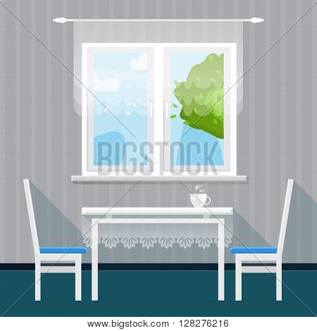Grey Interior Dining Room. Dining table with cup and chairs. Furniture. Kitchen. Home Interior Objects. Style vector illustration