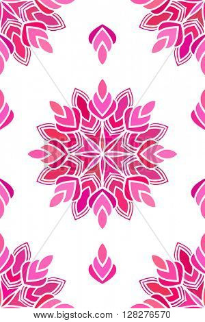Seamless floral ornament, Abstract vector background magenta color