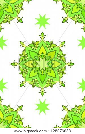 Seamless floral ornament, Abstract vector background green color