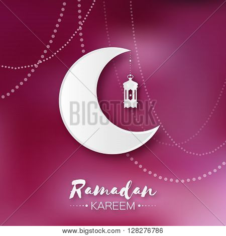 Dark pink Ramadan Kareem celebration greeting card. Hanging arabic lamp star and crescent moon. Holy month of muslim. Symbol of Islam. Moon Ramadan. Vector illustration.