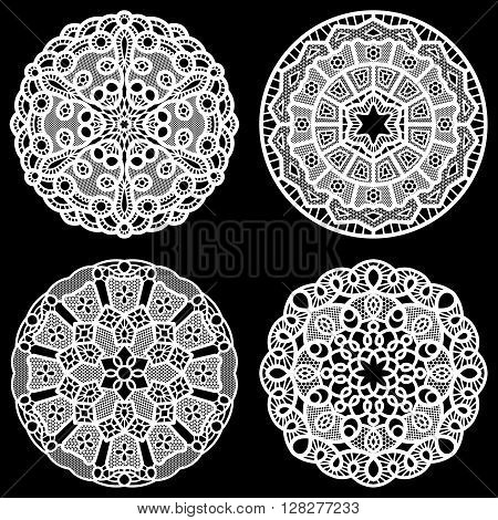 Set of design elements lace round paper doily lacy snowflake greeting element package vector illustrations