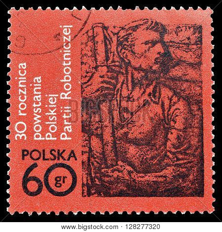 POLAND -CIRCA 1972 : Cancelled postage stamp printed by Poland, that shows Fighting worker.