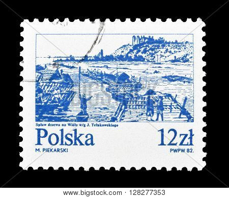 ISRAEL - CIRCA 1982 : Cancelled postage stamp printed by Poland, that shows Vistula river.