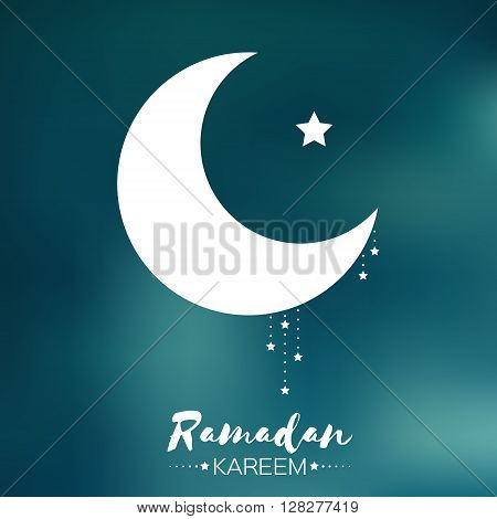 Dark blue Ramadan Kareem celebration greeting card. Stars and crescent moon. Holy month of muslim. Symbol of Islam. Moon Ramadan. Vector illustration.