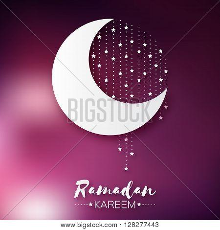 Dark pink Ramadan Kareem celebration greeting card. Stars and crescent moon. Holy month of muslim. Symbol of Islam. Moon Ramadan. Vector illustration.