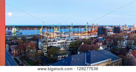 KLAIPEDA LITHUANIA - 21 APRIL 2016: Central industrial wharf of Klaipeda city port. Klaipeda Lithuania.