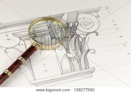 magnifying glass & architectural drawing - detail column