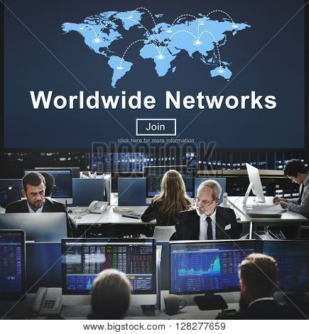 Worldwide Networks Global Communication Finance Concept