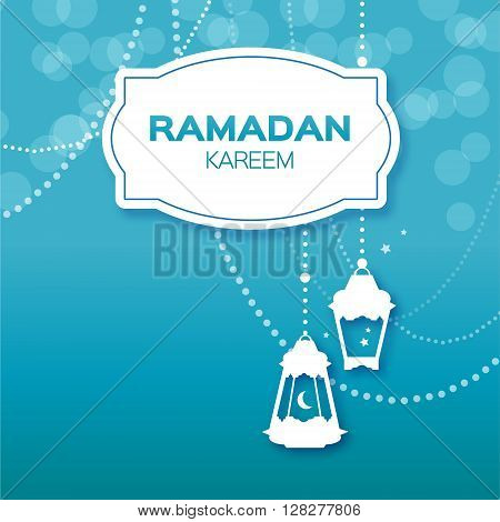 Blue Ramadan Kareem celebration greeting card. Hanging arabic lamps stars and crescent moon. Holy month of muslim. Symbol of Islam. Moon Ramadan. Vector illustration.
