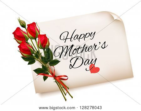 Happy Mother's Day note with red roses. Vector background.