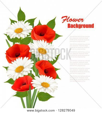Nature flower background with red poppies and white daisies. Vector.