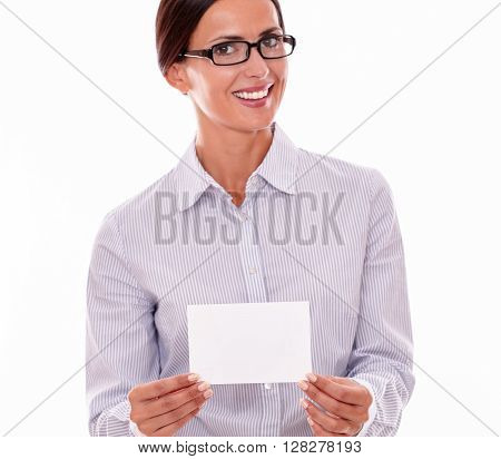 Smiling Brunette Businesswoman With Copy Space