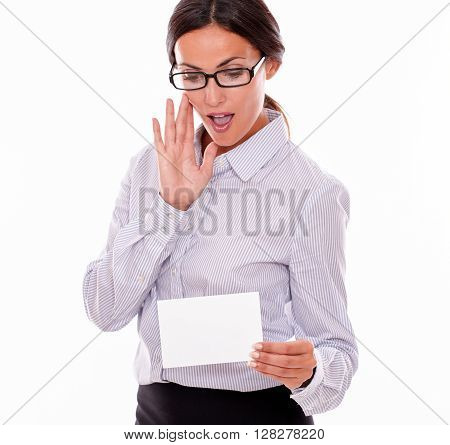 Surprised Brunette Businesswoman With Copy Space