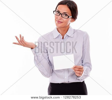 Indifferent Brunette Businesswoman With Copy Space