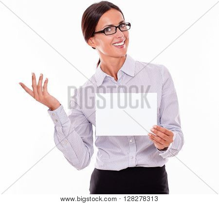 Excited Brunette Businesswoman With A Signboard