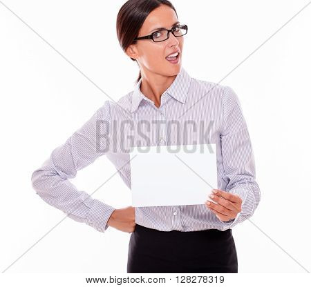Shocked Brunette Businesswoman With A Signboard