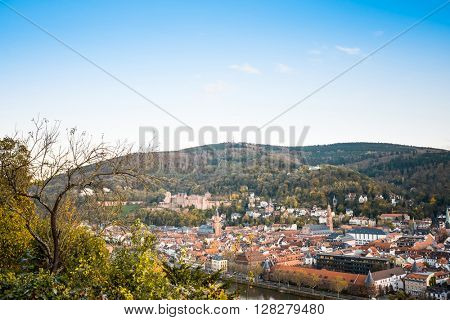 view to old town of Heidelberg, Germany