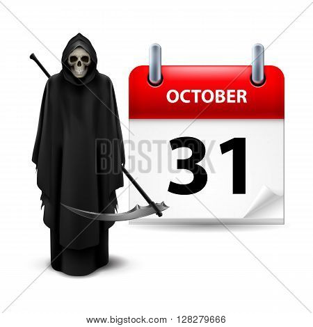 Halloween concept with Grim Reaper and calendar on 31th of October over white