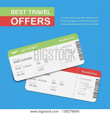 Advertising of the travel agency. Simple text on the banner. Best travel offers. Airline boarding pass tickets isolated on blue background. Vector flat design