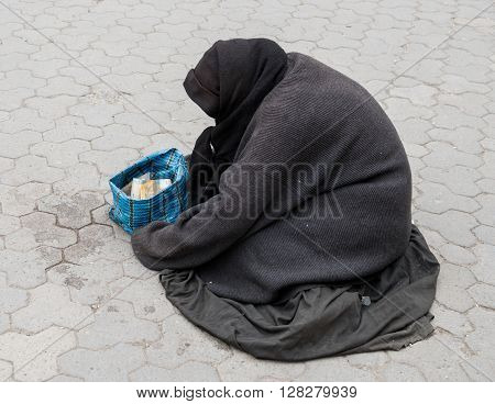 Homeless Woman On The Street