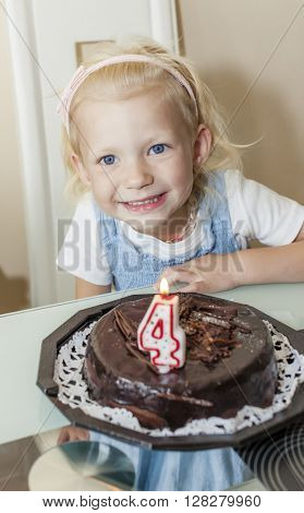 portrait of girl with a birthday cake