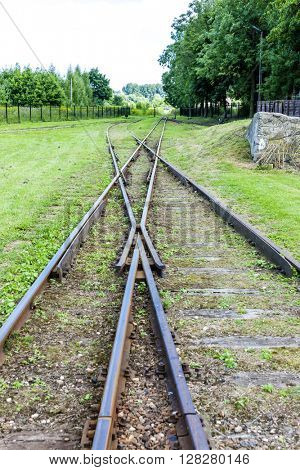 the crossing of normal and narrow gauge, Elk, Warmian-Masurian Voivodeship, Poland