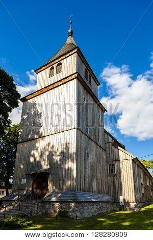 wooden church in Wieliczki, Warmian-Masurian Voivodeship, Poland