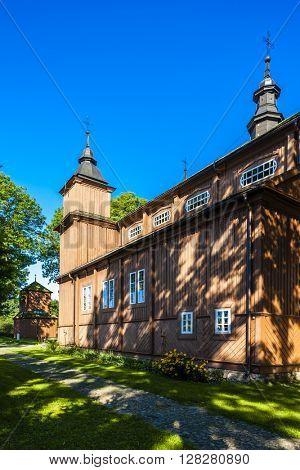 wooden Catholic church in Narew, Podlaskie Voivodeship, Poland