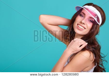 Summer smiling woman in studio portrait