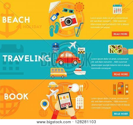 Holidays and Vacation On the Beach, Traveling and Tourism, Sightseeing and Shopping, Searching and Booking. Flat style vector illustration online web banner