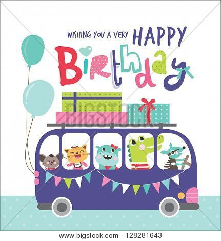 Birthday Card with group of cute animals in a bus