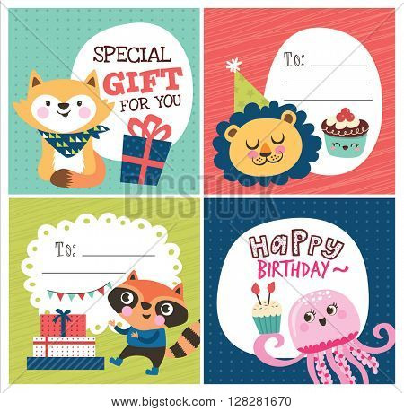 Set of birthday cards/ gift tags