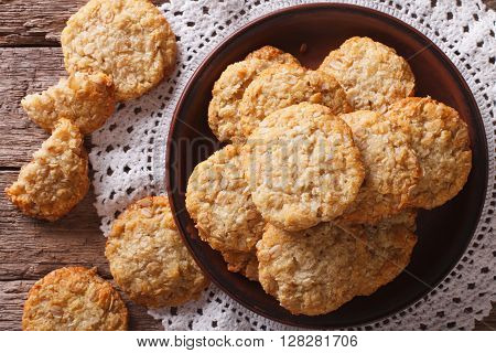 Freshly Baked Australian Anzac Biscuits Close Up. Horizontal Top View