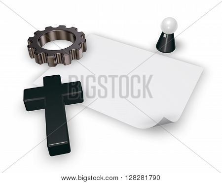 christian cross pope figure blank paper sheet and gear wheel on white backgroundl - 3d rendering